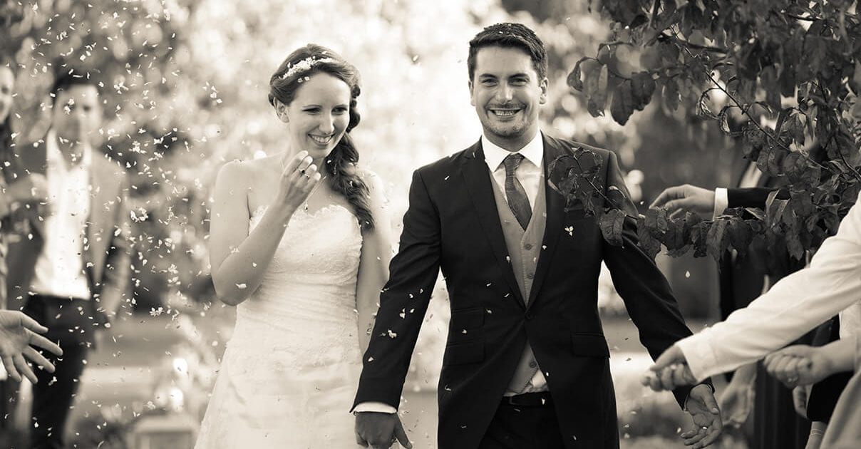 Wedding confetti shot, Bride and groom in Kent