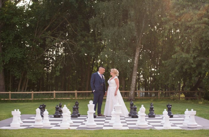 Bride and groom on chess board