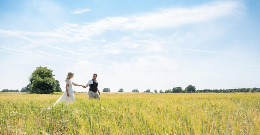 Boho bride and grrom in cornfield