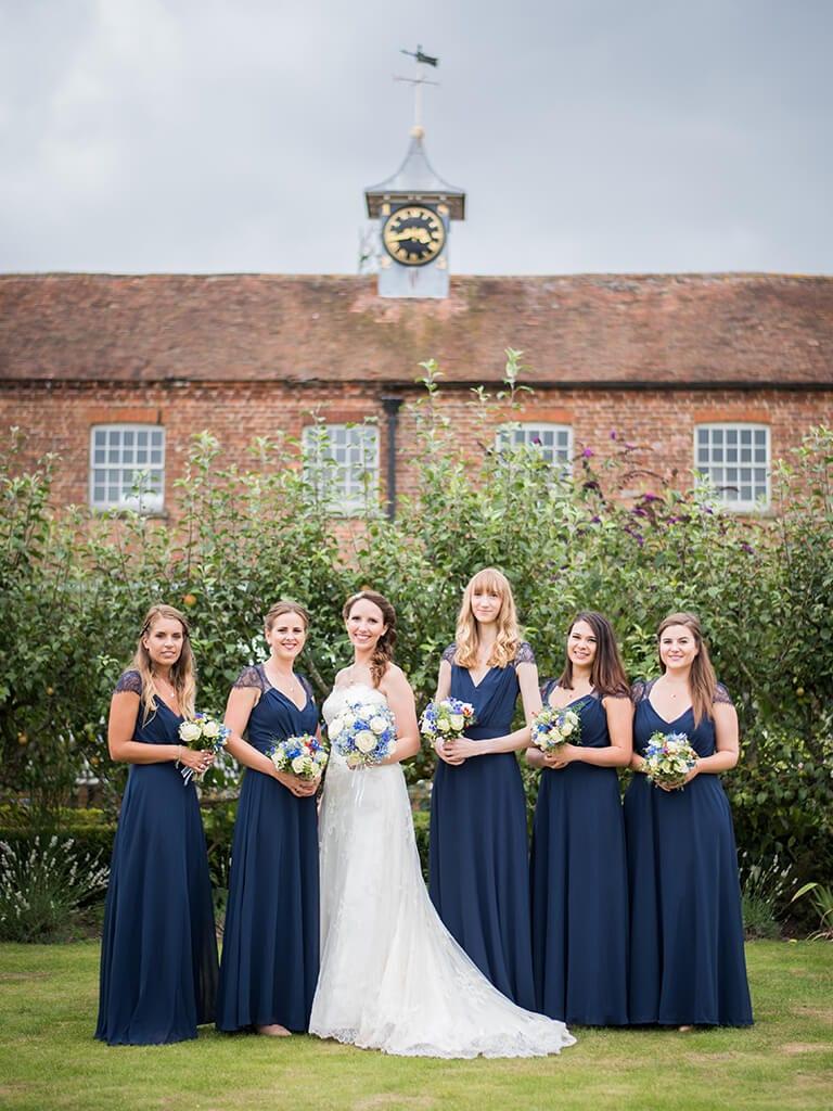 Bride and bridesmaids at a wedding venue in Kent