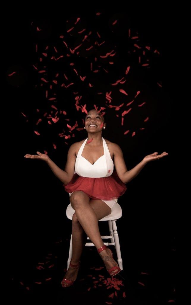 portrait photography throwing petals