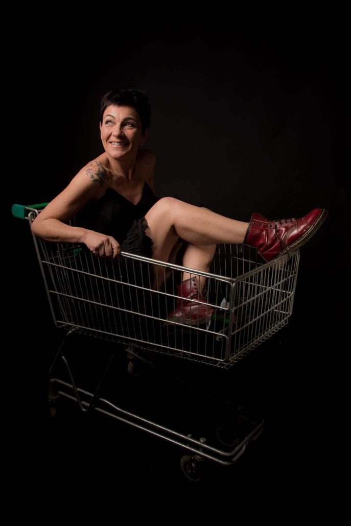 portrait photography shopping trolly