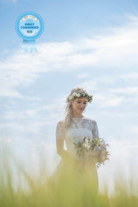 Bride in corn field