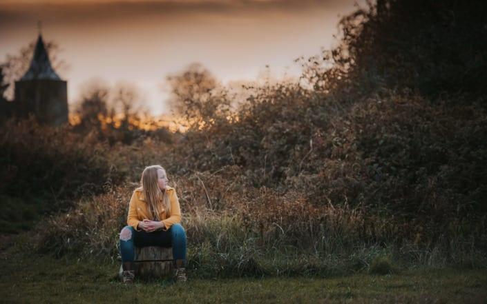 Autumn sunset portrait