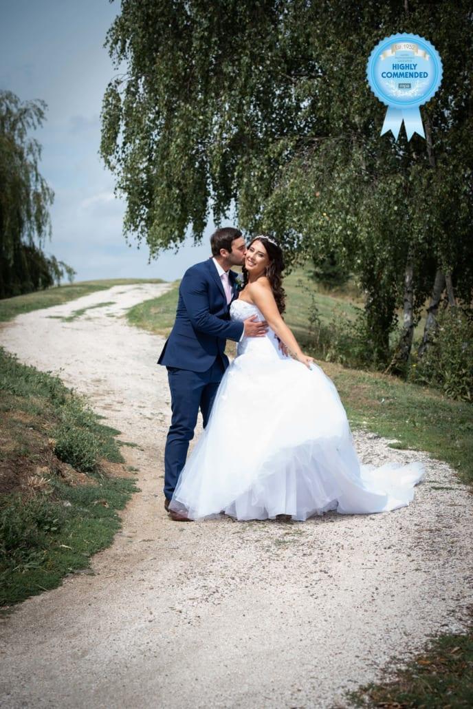 Bride & Groom with weeping willow behind