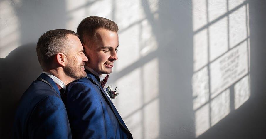 Grrom & Groom on their wedding day